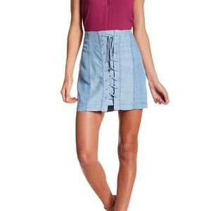 Side Lace-Up Contrast Skirt